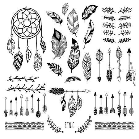 Boho art. Tribal arrow feather, bohemian floral border and hippie fashion frame, magic meditation ornament and ethnic dreamcatcher. Tattoo sketch vector isolated elements symbols set Ilustrace