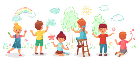 Kids drawing on wall. Childrens group draw color paintings on walls, child paint art or kindergarten kid painting rainbow, trees and clouds. Creative children drawing cartoon vector illustration Illustration