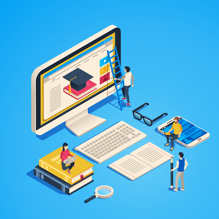 Isometric online teaching. Internet classroom, student learning at computer class. Online university graduate, studying training tutorial or exam. Laptop education 3d vector illustration