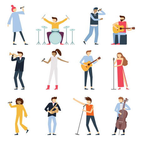 Musician artists. Guitar playing artist, young drummer and pop song singer. Musical instruments stage players or people music hobby. Artistic performer character isolated flat vector icons set