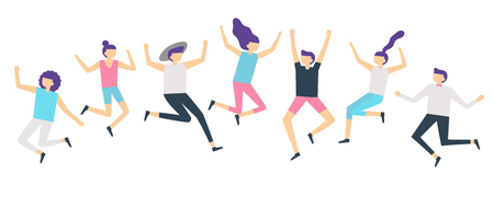 Jumping people. Active adults friends group jump. Happy female and male characters jumped and laugh, excited joyful jumping team flat vector illustration isolated icons set Illustration