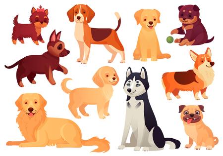 Perro y cachorro de dibujos animados. Cachorros felices con hocico sonriente, perros leales y perro amigable. Husky, corgi y pug perrito pedigrí expresión carácter aislado conjunto de iconos vectoriales Ilustración de vector