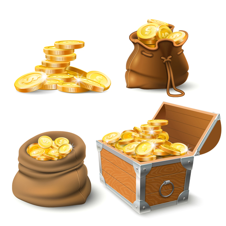 Golden coins stacks. Coin in old sack, large gold pile and chest full of gold treasure or stacked money. Cash shiny dollar coins savings. Wealth investment realistic vector isolated icons set