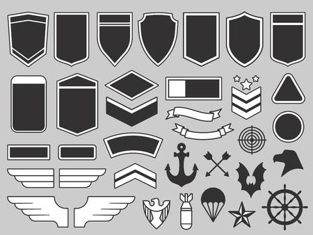 Militärische Patches. Armeesoldaten-Emblem, Truppenabzeichen und Air Force Insignia Patch Design-Elemente oder Navy Seals Army Abzeichen.