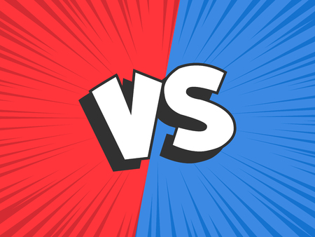 Versus compare. Red VS blue battle conflict frame, confrontation clash and fight comic duel banner. Opposite sports challenge comics book cartoon vector illustration background Banque d'images - 115389264