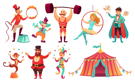 Circus characters. Juggling animals, juggler artist clown and strongman performer. Clowns comedian, juggling jester performer, magician and monkey. Cartoon vector illustration isolated icons set Stock Photo