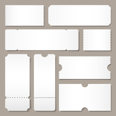 Blank ticket template. Festival concert tickets, white paper coupon card layout and cinema admit one sheet. Event, theater or lottery tickets isolated vector symbols mockup Illustration