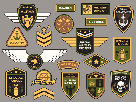 Army badges. Military patch, air force captain sign and paratrooper insignia badge. Airforce squadron bird tag or aviation crest patch. Airborne soldier vector patches isolated symbols set Illustration