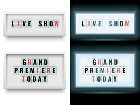 Cinema lightbox sign. Illuminated light box billboard panels or lcd screen. Movie cinema grand premiere today billboards or live show theatre announcing poster. Vector isolated symbols set Illustration