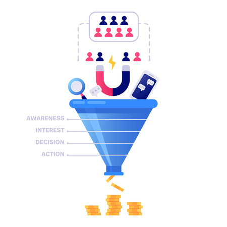 Funnel sales concept. Marketing infographic, sale conversion and lead sales pipeline or business manager conversion pipe. Strategy target chart isolated vector illustration