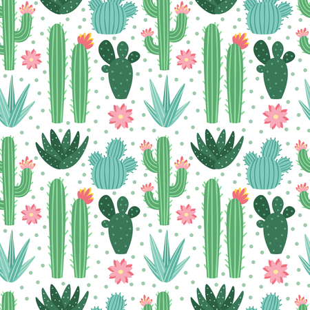 Seamless cactus pattern. Exotic desert cacti houseplants, repeating cactuses or succulent fabric doodle. Blooming garden cactus wrapping print or floral wallpaper flat vector background