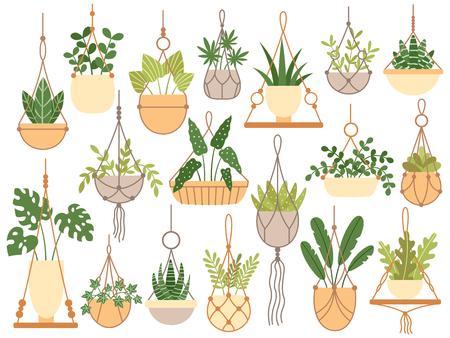 Pflanzen in hängenden Töpfen. Dekorative handgefertigte Makramee-Aufhänger für Blumentöpfe, hängen Zimmerpflanzen. Pflanzen von Blumen, Plantar-Töpfe Gartendekoration flach isolierte Vektor-Icons gesetzt Vektorgrafik