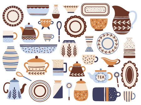 Kitchen crockery. Ceramic cookware, porcelain cups and glassware jar. Kitchen tableware or table plates and bowl. Kitchenware ceramics dishes isolated flat items vector icons set Illustration