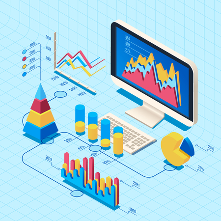 Isometric finance data analysis. Market position concept, web business computer diagram data trends search science. Professional research scrutiny report graphics 3d vector illustration