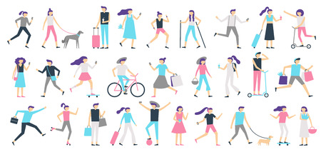 Walking people. Man and woman walk with dog at city, girl looking at smartphone and boy with skateboard, person on bicycle. Outdoors people active flat vector isolated illustration icons set