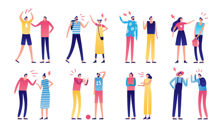 Quarreled couple. Couples of angry people, relationship disagreement problem and family quarrels. Conflict quarrel, person yelling aggression and fight. Arguing flat isolated vector icons set Illustration