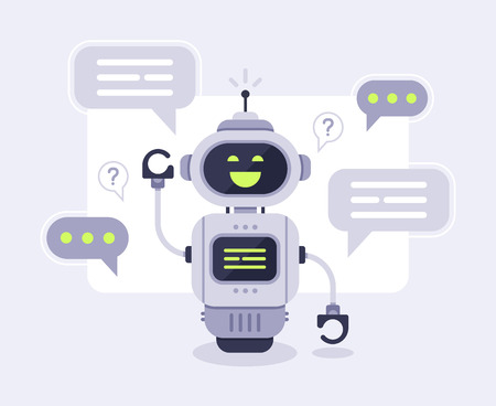 Chat bot messages. Smart chatbot assistant conversation, online customer support robot and talking to machine bots. Message answering robots chatting customer service vector illustration Illustration