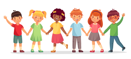 Happy kids team. Multinational childrens, school girls and boys stand together holding hands. Friendship laughing children playing together cartoon isolated vector illustration