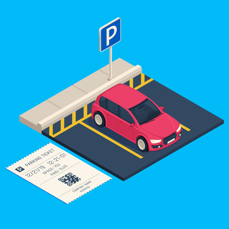 Isometric transport parking. Entrance parking space ticket, city urban car garage barriers gate security payment system business. Cars traffic communication technology vector illustration Illustration
