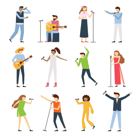 Musician singers people. Vocal singer artist, singing diva opera with mic and musicians sing song concert. Radio instruments artists players vector flat isolated icons set
