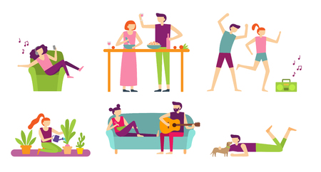 People recreation at home. Young couple spending holiday and relax, cooking and eating or listening to music. Indoor relaxation family playing guitar, chill with dog, Flat vector isolated icons set Illustration