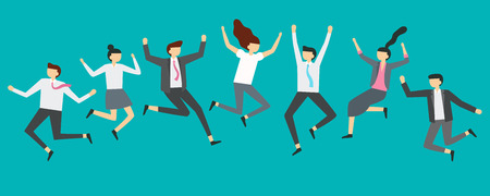 Happy jumping business people. Excited office team workers jumping at employees party, smiling professionals jump. Business characters team corporate celebration vector illustration Illustration