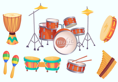 Cartoon drums. Musical drum instruments. Music instrument, philharmonic orchestra classic drumming instrumentation. Acoustic bongo, maracas and tambourine vector isolated icons collection