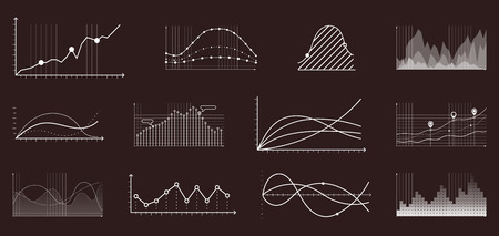 Currency grow chart. Finance and economic market analysis graphs or stock charts. Finance market currency statistics data, profit marketing economic growth graphic diagram vector set