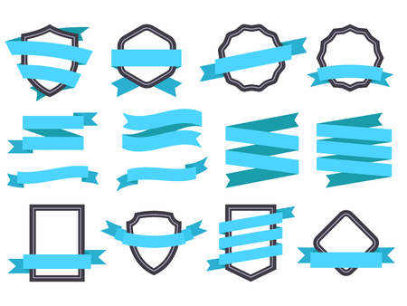 Ribbon banner. Frames and ribbons blue decorative logo. Ribbons banners empty royal curled tag or emblem retro flat isolated vector icons set