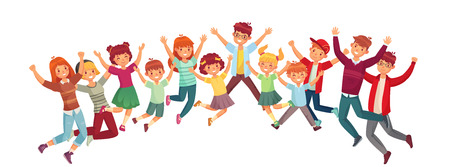 Jumping kids. Excited childrens jump or exercising together. Kid friendship character summer holiday surprised jumping or children active playing vector illustration isolated icons set