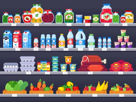 Produits alimentaires sur étagère de magasin. Étagères de supermarché, vitrine de magasin d'alimentation et vente de produits de repas emballés de choix. Épicerie marché variété produit plateau illustration vectorielle