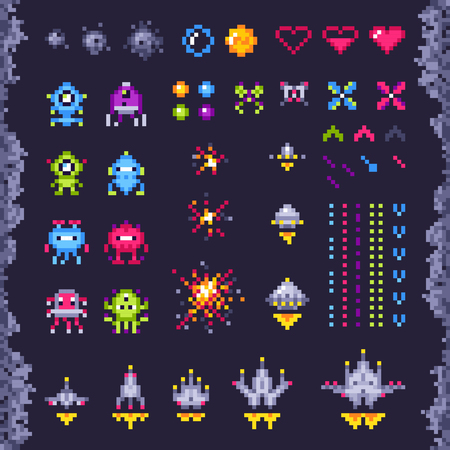Retro space arcade game. Invaders spaceship, pixel invader monster and retro video games pixel art icons. Vintage computer 8 bits graphics pixel game isolated objects illustration set Фото со стока - 113896504