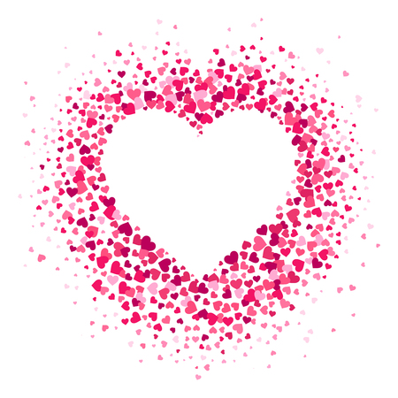 Love heart frame. Scattered hearts confetti in heart shape, valentines card and romance shapes scatter. Decorative hearted shaped invitation or greeting vector illustration background Illustration