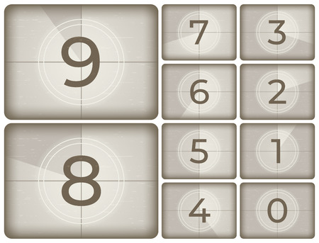 Old cinema countdown. Vintage film intro counting, movie projector count down and retro timer frames. Reel scratches television screen numbers isolated vector illustration icons set Illustration