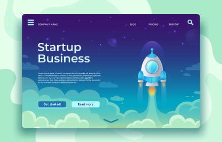 Startup launch landing page. Rocket launch, easy business start and futuristic space travel. Creative mobile app or website strategy idea development vector concept illustration Illustration