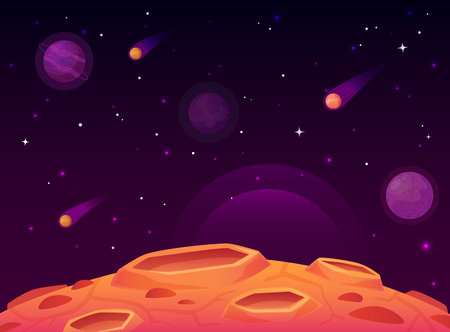 Space asteroid surface. Planet with craters surface, space planets landscape and comet crater. Futuristic atmosphere, meteorite rain horizon land, moon destruction cartoon vector illustration