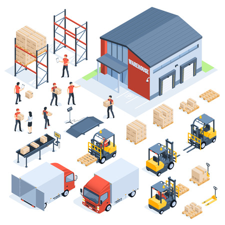 Isometric warehouse logistic. Cargo transport industry, wholesale distribution logistics and distributed pallets. People with package, world truck packaging delivery company 3d isometric vector set Ilustracje wektorowe
