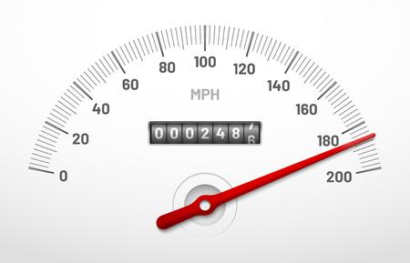 Deska rozdzielcza prędkościomierza samochodu. Panel licznika prędkości z licznikiem kilometrów, licznikiem mil i tarczą pilności lub szybką deską rozdzielczą instrumentów samochodowych. Koncepcji na białym tle wektor kreska wyścigowa miernik mil Ilustracje wektorowe
