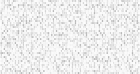 Binary matrix code. Computer data stream, digital security codes and gray coding information. Screen with coding numbers, matrix hacking coded digital display abstract vector background Illustration