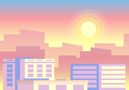 Day time view. Early morning sunrise city landscape. Daytime sun cycle countryside sky horizon noon summer scene for game app. Flat colorful vector concept background Ilustração