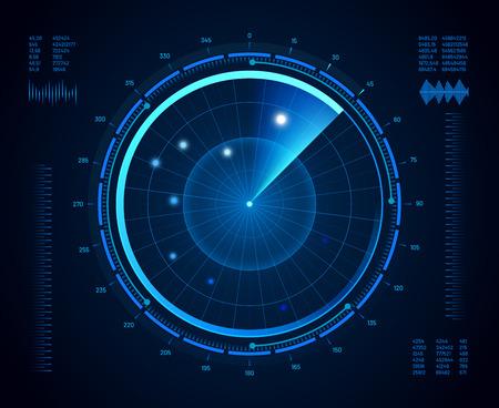 Radar futuristico. Sonar di navigazione militare, schermo di monitoraggio del bersaglio dell'esercito e mappa dell'interfaccia di visione radar o interfaccia di visualizzazione del satellite sottomarino della marina. Concetto isolato vettore bussola aereo compass Vettoriali