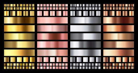 Elegant metallic gradient. Shiny rose gold, silver and bronze medals gradients. Golden, pink copper and chrome metal. Polished chrome metallic platinum steel gradient vector collection