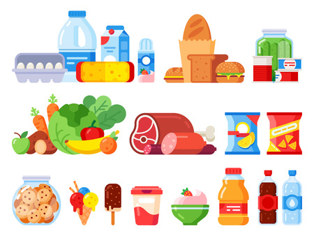 Food products. Packed cooking product, supermarket goods and canned food. Cookie jar, whipped cream and eggs pack. Supermarkets shopping, various vegetables flat vector isolated icons set Vektoros illusztráció