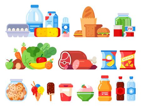 Productos alimenticios. Producto de cocina envasado, productos de supermercado y conservas. Tarro de galletas, crema batida y paquete de huevos. Supermercados de compras, varios iconos de verduras vector plano aislado conjunto Ilustración de vector