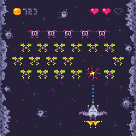 Space arcade game level. Retro invaders, pixel art video games and monster invader spaceship gaming. Pixels 8bit alien platformer kids play game retro vector illustration
