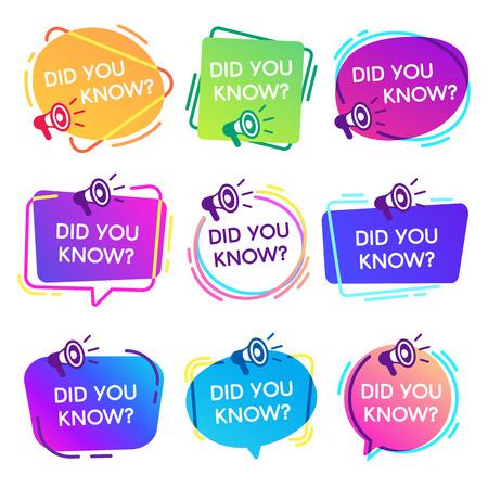 Czy znałeś etykiety. Ciekawe fakty dymki, etykieta bazy wiedzy i baner faq mediów społecznościowych. Zna fakty lub myślenie quizu izolowane odznaki wektorowe izolowane zestaw ikon