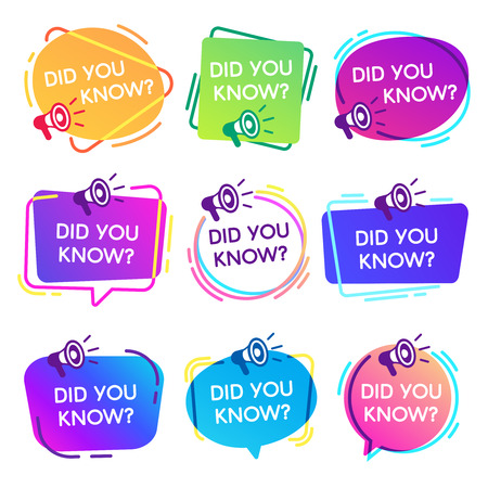 Did you know labels. Interesting facts speech bubbles, knowledge base label and social media faq banner. Knows fact news or thinking quiz isolated vector badges isolated icons set Stock fotó - 115389782