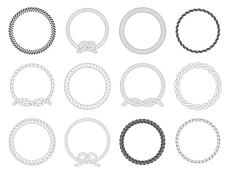 Cadre en corde ronde. Cordes de cercle, bordure arrondie et cercles décoratifs de cadre de câble marin. Vecteurs