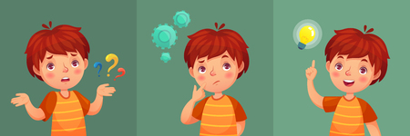 Child question. Thoughtful young boy ask question, confused kid and understand or found answer. Confuse kid contemplation thinking expression with intelligent face cartoon vector portrait illustration Ilustração Vetorial