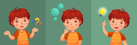 Kinderfrage. Durchdachter kleiner Junge stellt Fragen, verwirrtes Kind und versteht oder fand Antwort. Verwechseln Sie den denkenden Ausdruck der Kinderkontemplation mit der intelligenten Gesichtskarikaturvektorporträtillustration Vektorgrafik